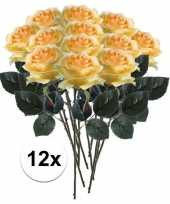 12x gele rozen simone kunstbloemen 45 cm trend