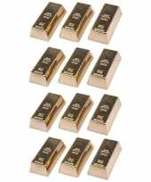 12x goudstaven magneet 6 cm trend