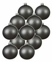 12x grijsblauwe glazen kerstballen 10 cm mat trend