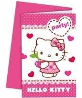 12x hello kitty themafeest uitnodigingen 14 cm trend