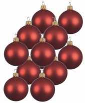 12x kerst rode glazen kerstballen 10 cm mat trend