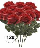 12x kunstbloem roos rood trend