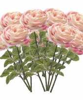 12x lichtroze rozen kunstbloemen 66 cm trend