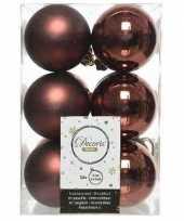 12x mahonie bruine kerstballen 6 cm kunststof mat glans trend