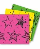 12x neon kleuren feest servetten 33 x 33 cm papier trend