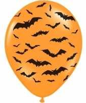 12x oranje zwarte halloween ballonnen 30 cm met vleermuizen prin trend
