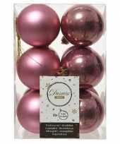 12x oud roze kerstballen 6 cm kunststof mat glans trend
