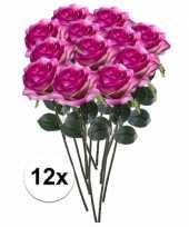 12x paars roze rozen simone kunstbloemen 45 cm trend