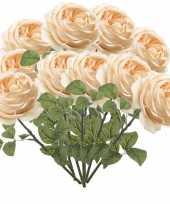 12x perzik roze rozen kunstbloemen 66 cm trend