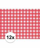 12x placemat rood wit geblokt 43 x 30 cm trend