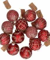 12x rode luxe glazen kerstballen met gouden decoratie 6 cm trend