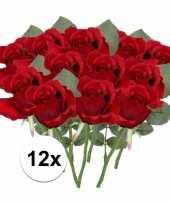 12x rode rozen kunstbloemen 30 cm trend