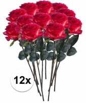 12x rood gele rozen simone kunstbloemen 45 cm trend