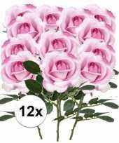 12x roze rozen carol kunstbloemen 37 cm trend