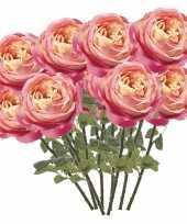 12x roze rozen kunstbloemen 66 cm trend