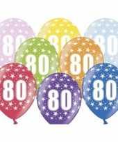 12x stuks ballonnen 80 met sterretjes trend