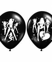 12x stuks zwarte ballonnen met sexy dames thema trend