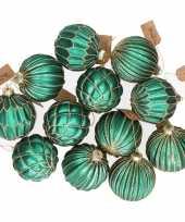 12x turquoise blauwe glazen kerstballen met gouden decoratie 8 c trend