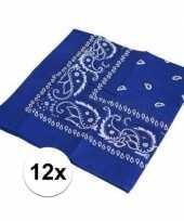 12x verkleedaccessoires blauwe bandana trend