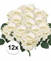 12x witte roos deluxe kunstbloemen 31 cm trend