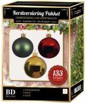 133 stuks kerstballen mix goud donkergroen rood voor 180 cm boom trend