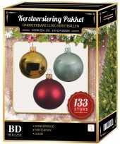 133 stuks kerstballen mix goud donkerrood mint voor 180 cm boom trend