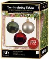 133 stuks kerstballen mix parel donkergroen rood voor 180cm boom trend