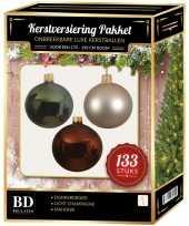 133 stuks kerstballen mix parel groen mahonie voor 180 cm boom trend