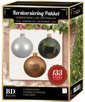 133 stuks kerstballen mix wit beige donkergroen voor 180 cm boom trend
