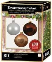 133 stuks kerstballen mix wit beige mahonie voor 180 cm boom trend
