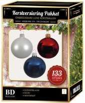 133 stuks kerstballen mix wit donkerblauw rood voor 180 cm boom trend