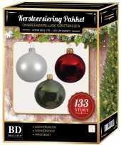 133 stuks kerstballen mix wit donkerrood groen voor 180 cm boom trend