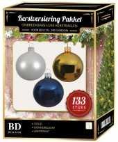 133 stuks kerstballen mix wit goud donkerblauw voor 180 cm boom trend
