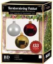 133 stuks kerstballen mix wit goud kerst rood voor 180 cm boom trend