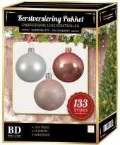 133 stuks kerstballen mix wit lichtroze oud roze voor 180cm boom trend