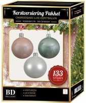 133 stuks kerstballen mix wit mintgroen roze voor 180 cm boom trend