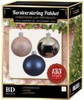 133 stuks kerstballen mix zilver blauw roze voor 180 cm boom trend