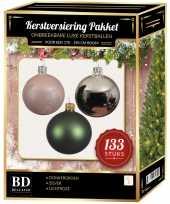 133 stuks kerstballen mix zilver groen roze voor 180 cm boom trend