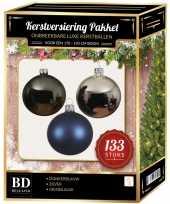 133 stuks kerstballenmix zilver grijsblauw blauw voor 180cm boom trend