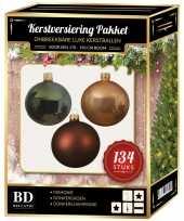 134 stuks kerstballen mix beige bruin donkergroen voor 180 cm bo trend
