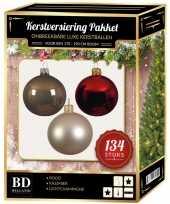 134 stuks kerstballen mix champagne groen bruin voor 180 cm boom trend