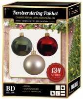 134 stuks kerstballen mix champagne groen rood voor 180 cm boom trend