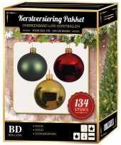 134 stuks kerstballen mix goud groen rood voor 180 cm boom trend