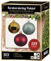 134 stuks kerstballen mix goud mint donkerrood voor 180 cm boom trend