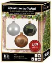 134 stuks kerstballen mix wit beige groen voor 180 cm boom trend