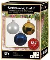 134 stuks kerstballen mix wit goud donkerblauw voor 180 cm boom trend