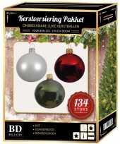 134 stuks kerstballen mix wit groen donkerrood voor 180 cm boom trend