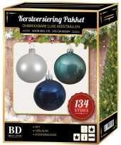 134 stuks kerstballen mix wit ijsblauw blauw voor 180 cm boom trend