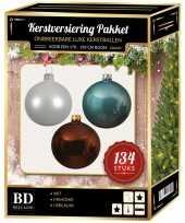 134 stuks kerstballen mix wit ijsblauw bruin voor 180 cm boom trend