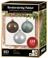 134 stuks kerstballen mix wit mint bruin voor 180 cm boom trend
